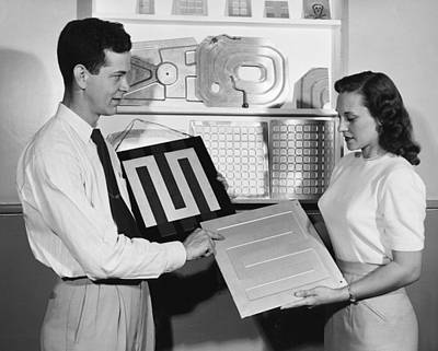 Employees With New Products Print by Underwood Archives
