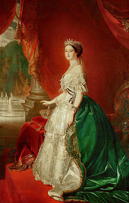Empress Eugenie Of France 1826-1920 Wife Of Napoleon Bonaparte IIi 1808-73 Oil On Canvas Print by Franz Xaver Winterhalter