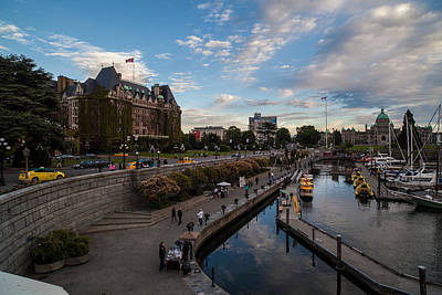 Empress Hotel And Victoria Harbor Print by Mike Reid