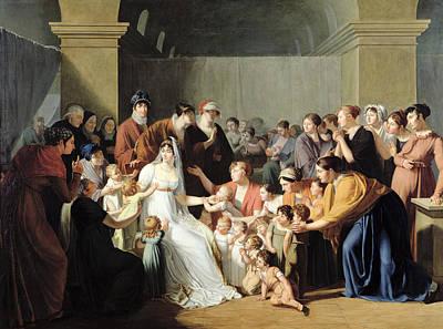 Empress Josephine 1763-1814 Among The Children, 1806 Oil On Canvas Print by Charles Nicolas Raphael Lafond