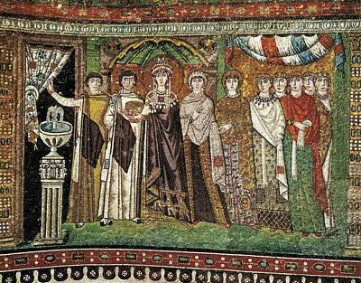 Empress Theodora With Her Court. Ca Print by Everett
