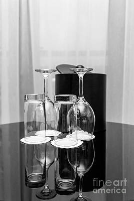 Glass Table Reflection Photograph - Empty Glasses by Svetlana Sewell
