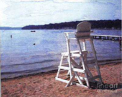 Empty Lake Empty Beach Summer's Out Of Reach  Williams Bay  Wi Print by Jane Butera Borgardt
