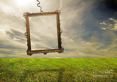 Meadow Photograph - Empty Retro Frame Hanging On Poor Land by Michal Bednarek