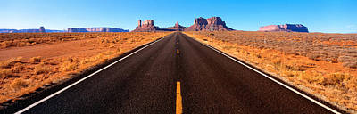 Converging Photograph - Empty Road, Clouds, Blue Sky, Monument by Panoramic Images