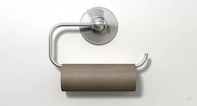 Empty Toilet Roll On Chrome Hanger Print by Allan Swart