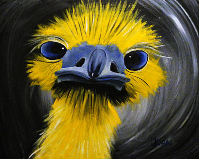 Emu Painting - Emu Of Color by Jean Kieffer