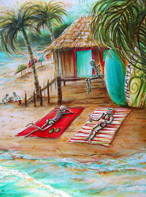 Sandals Painting - En La Playa by Heather Calderon