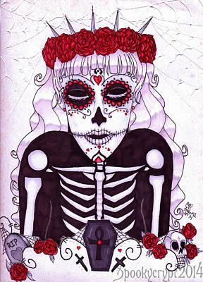 Sugar Skull Girl Drawing - Enamorado Con Muerte by CM Addams