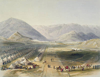 Camel Drawing - Encampment Of The Kandahar Army by James Rattray