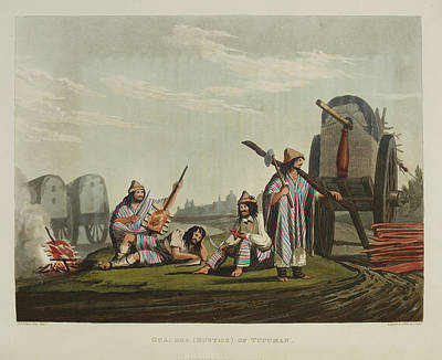 Encampment With Wagons Print by British Library