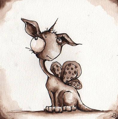 Unicorn Drawing - Enchanted by Darnel Tasker
