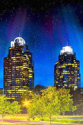 Enchanted Evening At The King And Queen Towers - Atlanta Print by Mark E Tisdale