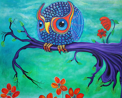 Owls Painting - Enchanted Owl by Laura Barbosa