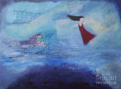 Floating Girl Painting - Enchanted by Stella Levi