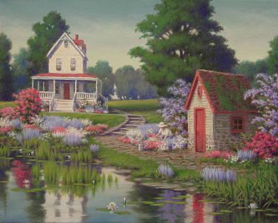 Oil Painting - Enchanting Homestead by Barry DeBaun