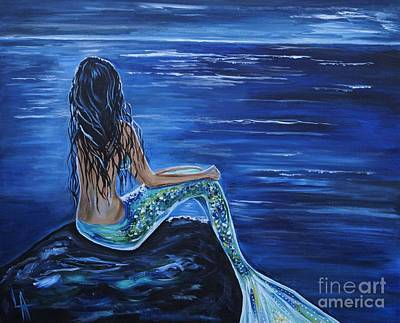 Enchanting Mermaid Print by Leslie Allen