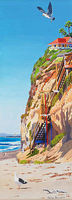 Staircase Painting - Encinitas Beach Cliffs by Mary Helmreich