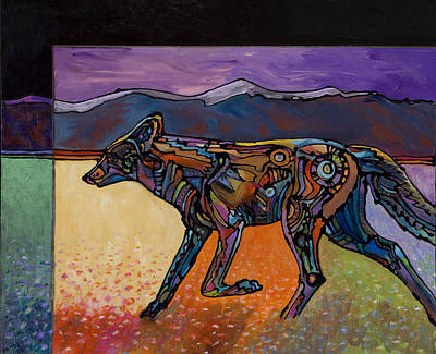 Abstract Coyote Painting - End Of A Long Day by Bob Coonts