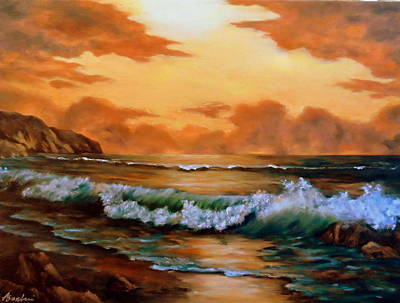 Waterscape Painting - End Of Day by Anne Barberi
