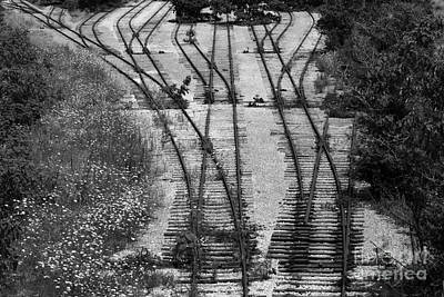 Train Photograph - End Of The Line In Monotone by Bill Swartwout