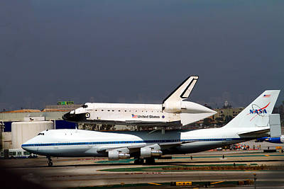 Endeavor And Nasa 747 Taxi After Final Landing Print by Denise Dube