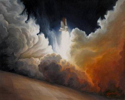 Space Ships Painting - Endeavour by Lucy West