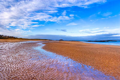 Scottish Photograph - Endless Beach Sands - North Berwick Scottish Seaside by Mark E Tisdale