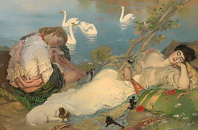 Swans... Painting - Endormies by Mountain Dreams