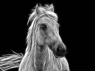 Fractal Photograph - Energetic White Horse by Joachim G Pinkawa