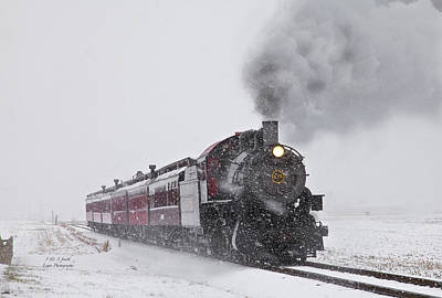 Train In The Winter Photograph - Engine 475 Horizontal In Snow by Steve and Sharon Smith