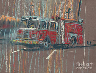 Truck Drawing - Engine 56 by Donald Maier
