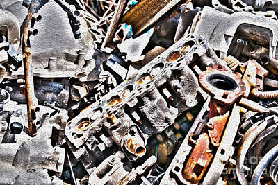 Engine For Parts - Automotive Recycling Print by Crystal Harman