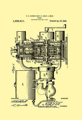 Antique Automobiles Drawing - Engine Patent 1920 by Mountain Dreams