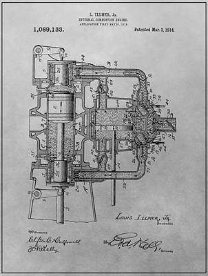 Cylinders Drawing - Engine Patent Drawing by Dan Sproul