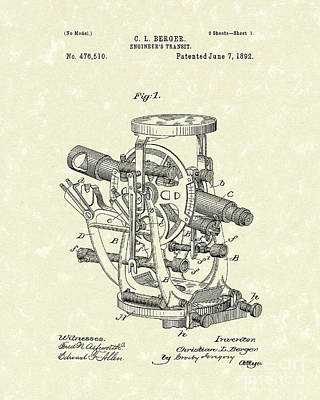 1892 Drawing - Engineer's Transit 1892 Patent Art by Prior Art Design