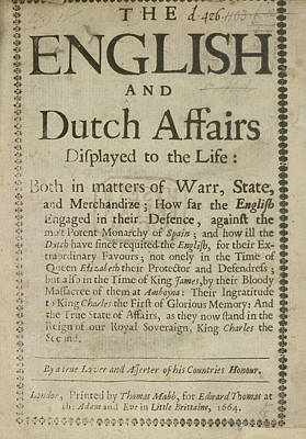 Lif Photograph - English And Dutch Affairs by British Library