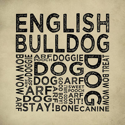 Bulldog Art Digital Art - English Bulldog Typography by Flo Karp
