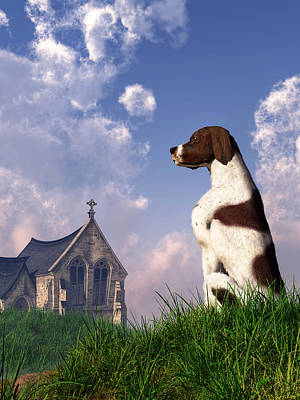 Hunting Dog Digital Art - English Pointer And Little Church by Daniel Eskridge