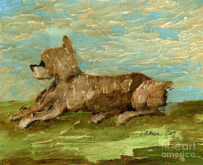 English Gouache Painting - English Shepherd Dog Watching His Flock by Cathy Peterson