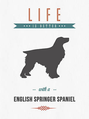 Cute Dog Mixed Media - English Springer Spaniel 01 by Aged Pixel