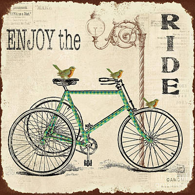 Enjoy The Ride Bicycle Art Original by Jean Plout