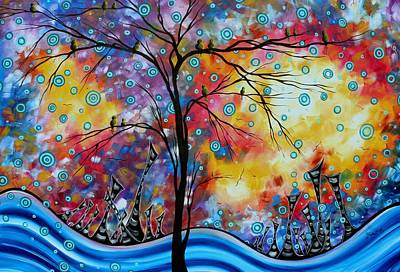 Oversized Painting - Enormous Whimsical Cityscape Tree Bird Painting Original Landscape Art Worlds Away By Madart by Megan Duncanson