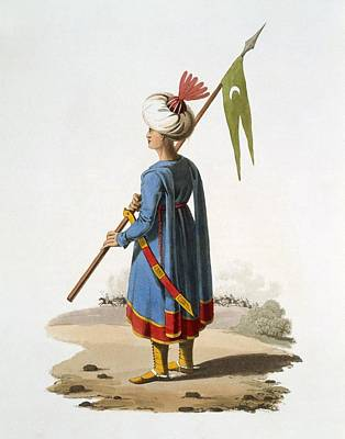 Clothes Clothing Drawing - Ensign Bearer Of The Spahis, 1818 by English School