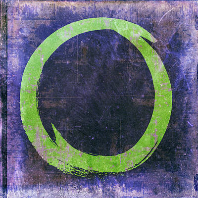 Enso No. 108 Green On Purple Print by Julie Niemela