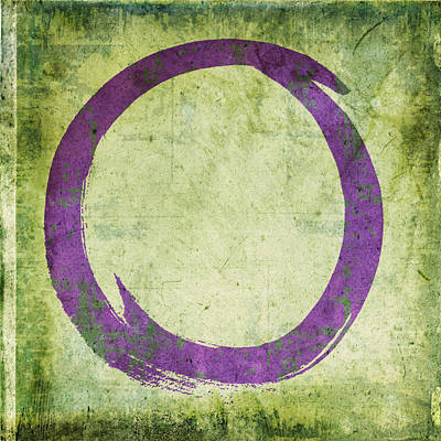 Enso No. 108 Purple On Green Print by Julie Niemela