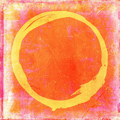 Enso No. 109 Yellow On Pink And Orange Print by Julie Niemela