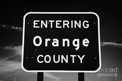 Entering Orange County Near Orlando Florida Usa Print by Joe Fox