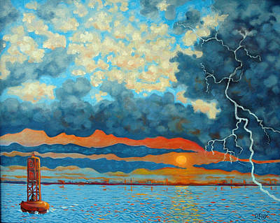 Lightning D Painting - Entering Stormy Charleston Harbor by Dwain Ray