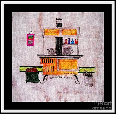 Enterprise Woodstove - Yellow Print by Barbara Griffin